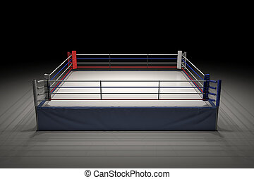3d rendering of an empty boxing ring in the dark with its center spotlighted.