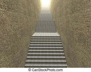 3D rendering of an empty staircase