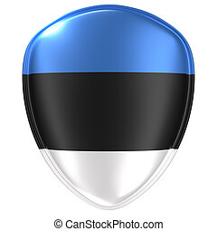 3d rendering of an Estonia flag icon.