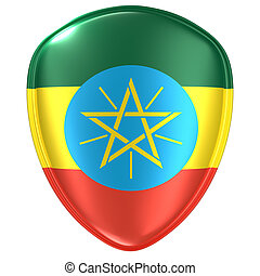 3d rendering of an Ethiopia flag icon.