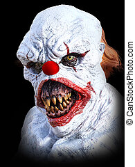 3D rendering of an evil looking clown.