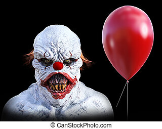 3D rendering of an evil looking clown with balloon.