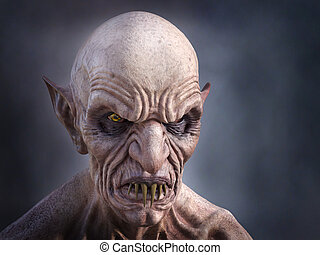 3D rendering of an evil looking vampire.