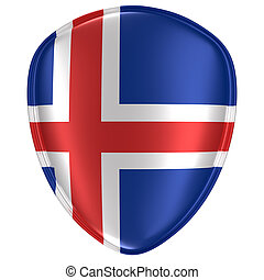 3d rendering of an Iceland flag icon.