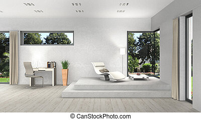 3D rendering of an interior with modern windows