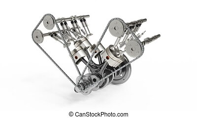 3d rendering of an internal combustion engine. Engine parts...