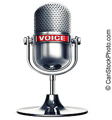 voice - 3D rendering of an microphone with the word voice
