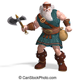 an old dwarf with an axe - 3D rendering of an old dwarf with...