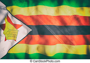 Republic of Zimbabwe flag waving - 3d rendering of an old ...