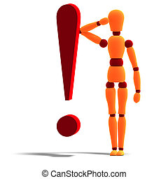 3D rendering of an orange red manikin standing behind an exclamation mark with clipping path and shadow over white