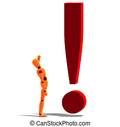 an orange red manikin standing by an exclamation mark - 3D...