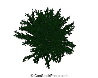 3d rendering of an outlined black bush with green edges isolated on white background