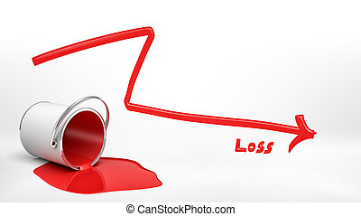 3d rendering of an overturned red paint bucket leaking paint into a puddle beside a red negative arrow and a word 'Loss'.