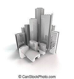 modern city - 3D rendering of an siolated modern city