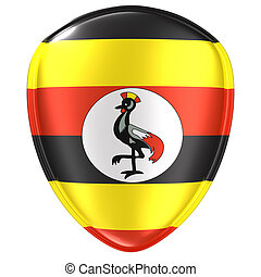 3d rendering of an Uganda flag icon.