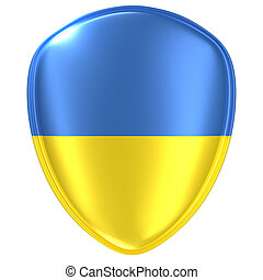 3d rendering of an Ukraine flag icon.