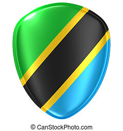 3d rendering of an United Republic of Tanzania flag icon on white background.