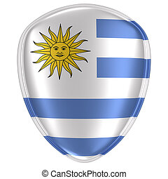 3d rendering of an Uruguay flag icon.