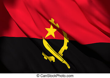 3d rendering of Angola flag