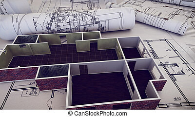 3d rendering of Architect workplace. Architectural project, blueprints, blueprint rolls on plans.