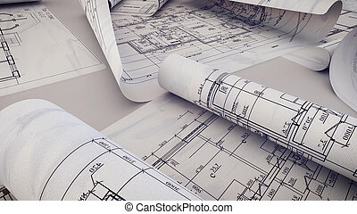 Architectural project, blueprints, blueprint rolls on plans.