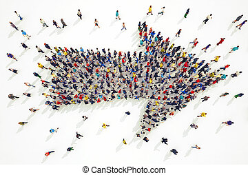 3D rendering of arrow people - 3D rendering of people forms ...