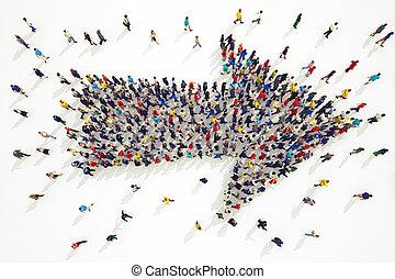 3D rendering of arrow people - 3D rendering of people forms ...
