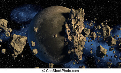 3D Rendering of asteroids. - 3D Rendering of asteroids next...