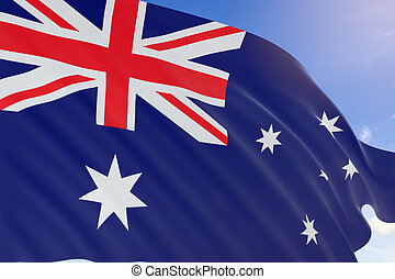 3D rendering of Australia flag waving on blue sky background