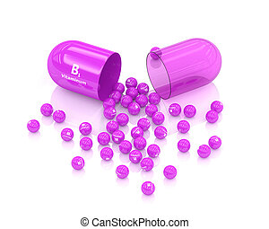 3d rendering of B1 vitamin pill lying on white table