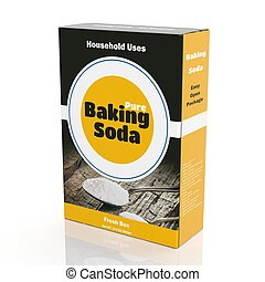3D rendering of Baking Soda paper packaging, isolated on white background.