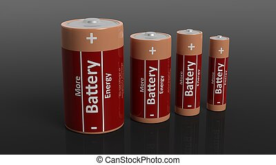 3D rendering of batteries in all sizes, isolated on black background.