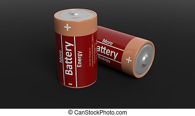 3D rendering of batteries, isolated on black background