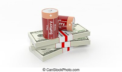 3D rendering of batteries on Dollar banknote packs, isolated on white background.
