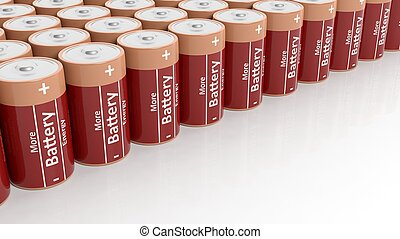 3D rendering of batteries set in a row, on white background with copy-space