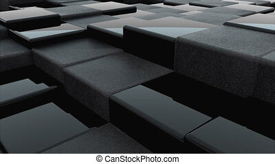 3d rendering of black cubes surface. Computer generated abstract wavy background.