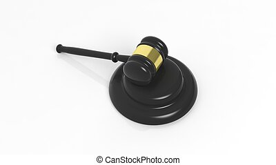 3D rendering of black gavel, isolated on white background.