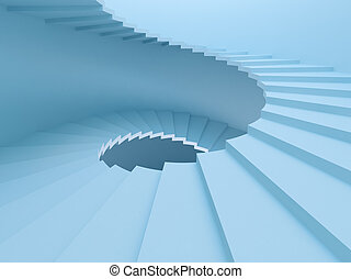 Spiral Staircase - 3d Rendering of Blue Spiral Staircase