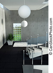 3d rendering of bright hallway with concrete wall and circle lamps