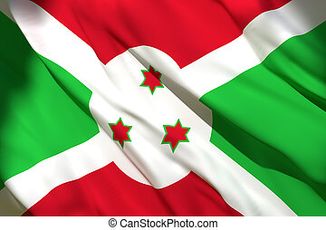 3d rendering of Burundi flag