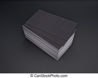 Black business card in a modern studio 3d rendering black business 3d rendering of business card on a black background reheart Images