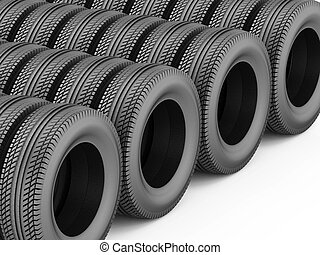 3d rendering of car rubber tire black