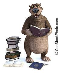3D rendering of cartoon bear having a storytime.