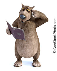 3D rendering of cartoon bear reading book and looking confused.