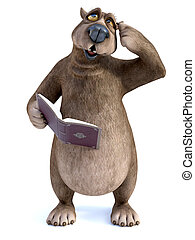 3D rendering of cartoon bear reading book and thinking about something.