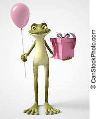 3D rendering of cartoon frog holding a balloon and a present.