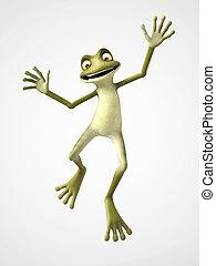 3D rendering of cartoon frog jumping for joy.