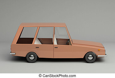 3d rendering of cartoon funny retro style car.