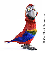 3D rendering of cartoon parrot smiling.