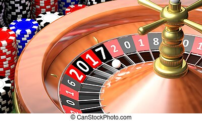 3D rendering of casino roulette with New year 2017